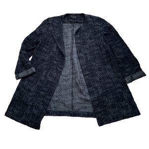 Eileen Fisher Gray and Black Marled Cardigan Sz L